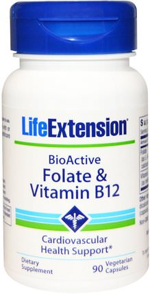 BioActive, Folate & Vitamin B12, 90 Veggie Caps by Life Extension, 維生素,維生素b,維生素b12 HK 香港