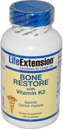 Bone Restore, With Vitamin K2, 120 Capsules by Life Extension, 補品,礦物質,鈣 HK 香港
