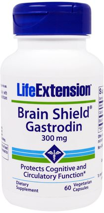 Brain Shield Gastrodin, 300 mg, 60 Veggie Caps by Life Extension, 健康,注意力缺陷障礙,添加,adhd,腦 HK 香港