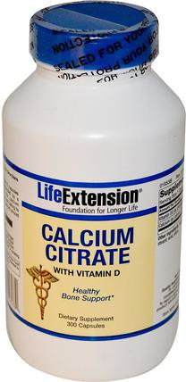 Calcium Citrate, with Vitamin D, 300 Capsules by Life Extension, 補品,礦物質,檸檬酸鈣 HK 香港