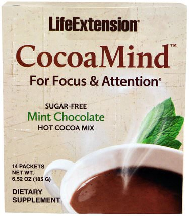 CocoaMind, Mint Chocolate, 14 Packets, 6.52 oz (185 g) by Life Extension, 補充劑,健康,注意力缺陷障礙,添加,adhd HK 香港