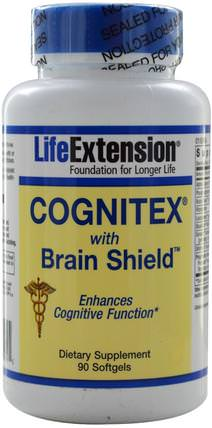 Cognitex with Brain Shield, 90 Softgels by Life Extension, 補充劑,αgpc(甘油磷酸膽鹼),注意力缺陷障礙,添加,adhd,腦 HK 香港