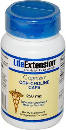 Cognizin, CDP-Choline Caps, 250 mg, 60 Veggie Caps by Life Extension, 維生素,膽鹼,cdp膽鹼(citi coline) HK 香港