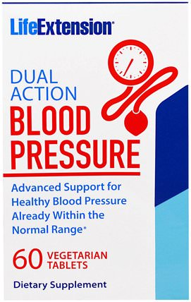 Dual Action Blood Pressure, 60 Veggie Tablets by Life Extension, 健康,血壓 HK 香港