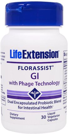 Florassist, GI With Phage Technology, 30 Liquid Veggie Caps by Life Extension, 補充劑,益生菌,消化,胃 HK 香港