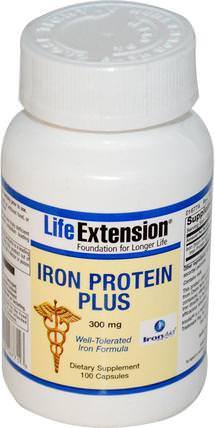 Iron Protein Plus, 300 mg, 100 Capsules by Life Extension, 補品,礦物質,鐵 HK 香港