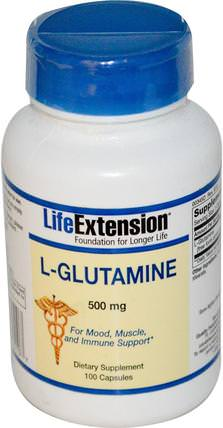 L-Glutamine, 500 mg, 100 Capsules by Life Extension, 補充劑,氨基酸 HK 香港