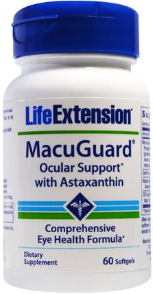 MacuGuard, Ocular Support with Saffron & Astaxanthin, 60 Softgels by Life Extension, 補充劑,抗氧化劑,蝦青素,健康,眼部護理,視力保健 HK 香港