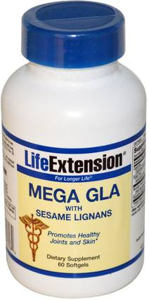 Mega GLA, with Sesame Lignans, 60 Softgels by Life Extension, 健康,骨骼,骨質疏鬆症,關節健康,關節韌帶 HK 香港