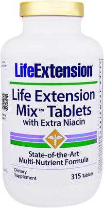 Mix Tablets with Extra Niacin, 315 Tablets by Life Extension, 維生素,維生素b,維生素b3,維生素b3 - 菸酸,多種維生素 HK 香港