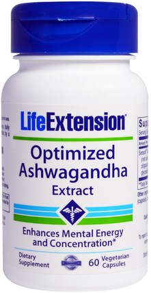 Optimized Ashwagandha Extract, 60 Veggie Caps by Life Extension, 草藥,ashwagandha withania somnifera,adaptogen HK 香港