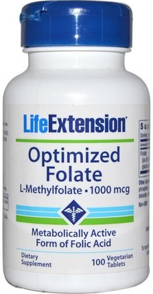 Optimized Folate, 1000 mcg, 100 Veggie Tabs by Life Extension, 維生素,葉酸,5-mthf葉酸(5甲基四氫葉酸) HK 香港