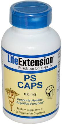 PS Caps, 100 mg, 100 Veggie Caps by Life Extension, 補充劑,磷脂酰絲氨酸,注意力缺陷障礙,添加,adhd,腦 HK 香港