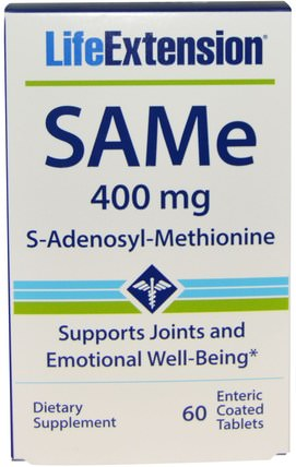 SAMe (S-Adenosyl-L-Methionine), 400 mg, 60 Enteric Coated Tablets by Life Extension, 健康,藥物濫用,成癮,sam-e(s-adenosyl methionine),sam-e 400 mg,關節健康 HK 香港