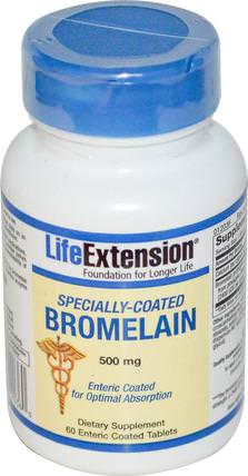 Specially-Coated Bromelain, 500 mg, 60 Enteric Coated Tablets by Life Extension, 補充劑,酶,菠蘿蛋白酶,健康 HK 香港