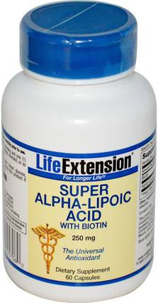 Super Alpha-Lipoic Acid, With Biotin, 250 mg, 60 Capsules by Life Extension, 補充劑,抗氧化劑,α硫辛酸 HK 香港