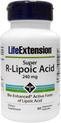 Super R-Lipoic Acid, 240 mg, 60 Veggie Caps by Life Extension, 補充劑,抗氧化劑,α硫辛酸,α硫辛酸150毫克 HK 香港