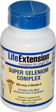 Super Selenium Complex, 100 Veggie Caps by Life Extension, 補充劑,抗氧化劑,硒,維生素E +硒 HK 香港