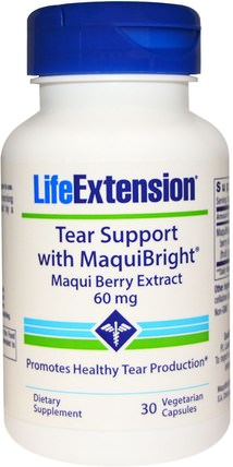 Tear Support, with MaquiBright, Maqui Berry Extract, 60 mg, 30 Veggie Caps by Life Extension, 健康,眼部護理,視力保健 HK 香港