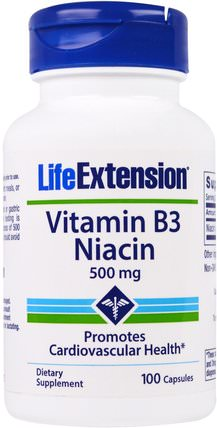 Vitamin B3 Niacin, 500 mg, 100 Capsules by Life Extension, 維生素,維生素b,維生素b3,維生素b3 - 菸酸 HK 香港