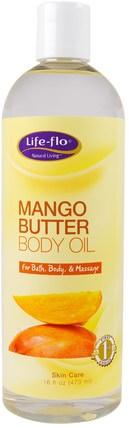 Life Flo Health, Mango Butter Body Oil, 16 fl oz (473 ml) 健康,皮膚,按摩油,身體護理油