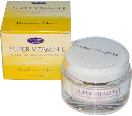 Radiant Skin, Super Vitamin E, 25.000 IU, 1.7 oz (48 g) by Life Flo Health, 維生素,維生素E,面部護理,面霜,乳液 HK 香港