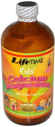 Kids Calcium Magnesium Liquid, Bubble Gum, 16 fl oz (473 ml) by Life Time, 補充劑,礦物質,鈣,液體鈣,兒童健康,兒童補品 HK 香港