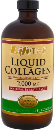 Liquid Collagen with Hyaluronic Acid & Vitamin D3, Natural Berry Flavor, 2.000 mg, 16 fl. oz (473 ml) by Life Time, 健康,骨骼,骨質疏鬆症,膠原蛋白 HK 香港