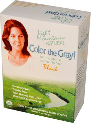 Color the Gray! Natural Hair Color & Conditioner, Black, 7 oz (198 g) by Light Mountain, 健康 HK 香港
