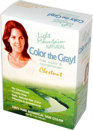 Color the Gray!, Natural Hair Color & Conditioner, Chestnut, 7 oz (198 g) by Light Mountain, 健康 HK 香港