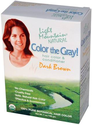 Color the Gray!, Natural Hair Color & Conditioner, Dark Brown, 7 oz (197 gm) by Light Mountain, 健康 HK 香港
