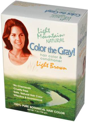 Color the Gray!, Natural Hair Color & Conditioner, Light Brown, 7 oz (197 g) by Light Mountain, 健康 HK 香港