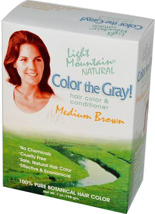 Color the Gray! Natural Hair Color & Conditioner, Medium Brown, 7 oz (198 g) by Light Mountain, 健康 HK 香港
