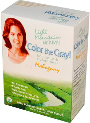 Color the Gray!, Organic Natural Hair Color & Conditioner, Mahogany, 7 oz (198 g) by Light Mountain, 健康 HK 香港
