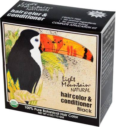 Natural Hair Color & Conditioner, Black, 4 oz (113 g) by Light Mountain, 健康 HK 香港