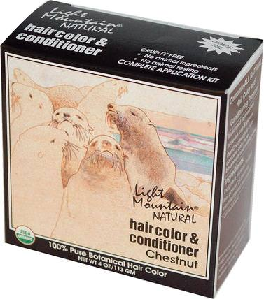 Natural Hair Color & Conditioner, Chestnut, 4 oz (113 g) by Light Mountain, 健康 HK 香港