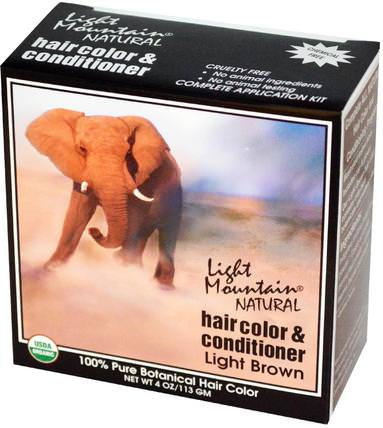 Natural Hair Color & Conditioner, Light Brown, 4 oz (113 g) by Light Mountain, 健康 HK 香港