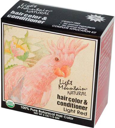 Organic Natural Hair Color & Conditioner, Light Red, 4 oz (113g) by Light Mountain, 健康 HK 香港