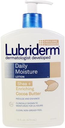 Lubriderm, Daily Moisture Lotion, Shea + Enriching Cocoa Butter, 16 fl oz (473 ml) 洗澡,美容,潤膚露