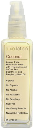 Luxe Lotion, Luxury Face, Coconut, 2 fl oz (59 ml) by LuxeBeauty, 美容,面部護理,spf面部護理 HK 香港