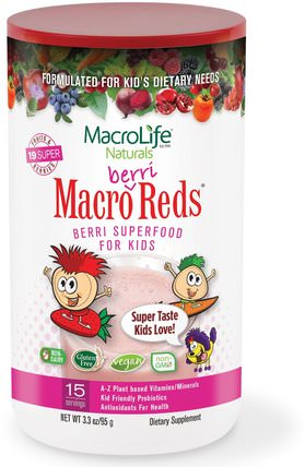 Macrolife Naturals, Macro Berri Reds, Berri Superfood For Kids, Fruits & Berries, 3.3 oz (95 g) 補品,超級食品,紅酒
