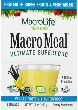 Macrolife Naturals, MacroMeal Ultimate Superfood, Vanilla Protein + Superfoods, 10 Packets, 1.4 oz (40 g) Each 補充劑,蛋白質