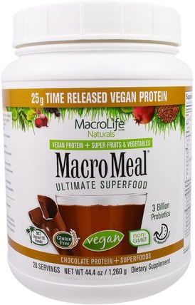 MacroMeal, Vegan, Chocolate Protein + Superfoods, 44.4 oz (1.260 g) by Macrolife Naturals, 補品,蛋白質,超級食品 HK 香港