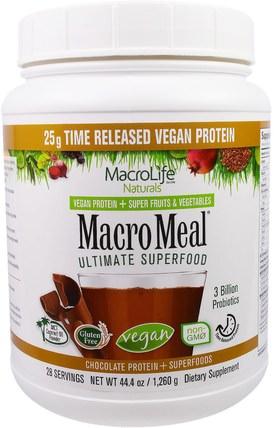 Macrolife Naturals, MacroMeal, Vegan, Chocolate Protein + Superfoods, 44.4 oz (1.260 g) 補品,蛋白質,超級食品