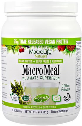 Macrolife Naturals, MacroMeal Ultimate Superfood, Vanilla + Superfoods, 21.7 oz (615 g) 補品,蛋白質,超級食品