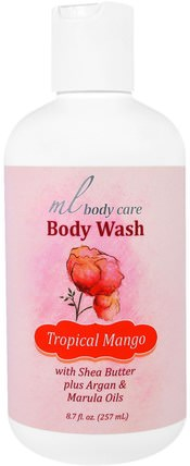 Body Wash, Tropical Mango, Cleansing with Argan & Marula Oils + Shea Butter, 8.7 fl. oz. (257 mL) by Madre Labs, 洗澡,美容,摩洛哥堅果浴,馬德雷實驗室身體護理 HK 香港