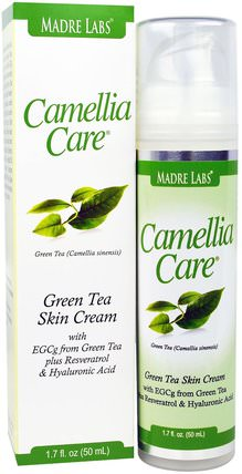 Camellia Care, EGCG Green Tea Skin Cream, Anti-Aging, Moisturizing and Hydrating, 1.7 fl oz (50 ml) by Madre Labs, 健康,皮膚,晚霜 HK 香港