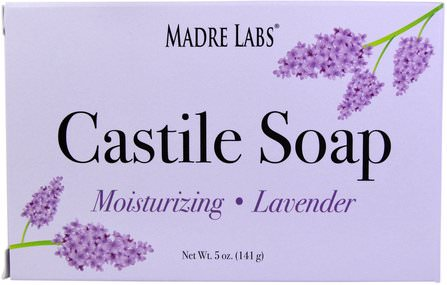 Castile Soap Bar, No Gluten, No GMOs, No Sulfates, Plant-Based, Lavender, 5 oz (141 g) by Madre Labs, 浴,美容,肥皂,卡斯蒂利亞肥皂,馬德雷實驗室卡斯蒂利亞肥皂 HK 香港