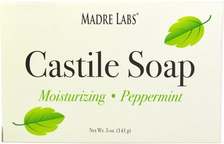Castile Soap Bar, No Gluten, No GMOs, No Sulfates, Plant-Based, Peppermint, 5 oz (141 g) by Madre Labs, 浴,美容,肥皂,卡斯蒂利亞肥皂,馬德雷實驗室卡斯蒂利亞肥皂 HK 香港