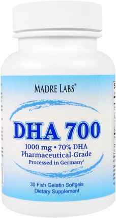 DHA 700 Fish Oil, Pharmaceutical Grade, German Processed, No GMOs, No Gluten, 1000 mg, 30 Fish Gelatin Softgels by Madre Labs, 補充劑,efa omega 3 6 9(epa dha),dha,魚油軟膠囊 HK 香港